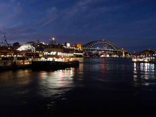Sydney Port Boats Bridge Harbour Bridge Night