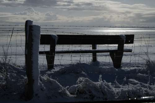Sylt Munkmarsch Sea Winter Snow Bank Fence