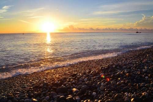 Taiwan Qixing Lake Sunrise Cobblestone Beach