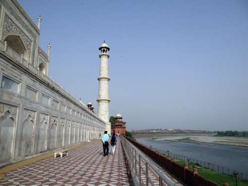 Taj Mahal North-West Tower River Side Yamuna River
