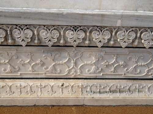 Taj Mahal Base Relief Work Floral Relief