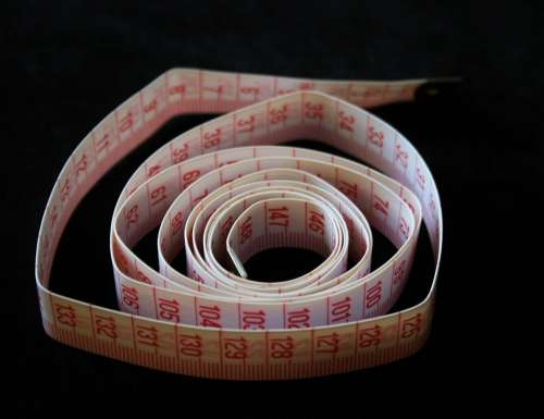 Tape Measuring Red White Centimeters Background