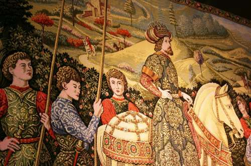 Tapestry Knights Middle Ages