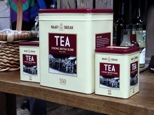 Tea Tins Marketing Container Red Named Canned