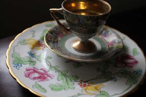 Tea Cup Plate Saucer China Ceramic Dish Cups