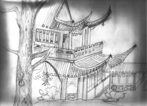 Tea House Luisenpark Mannheim Sketch Pencil