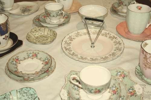Tea Set Tea Party Teapot Cups Filter Vintage