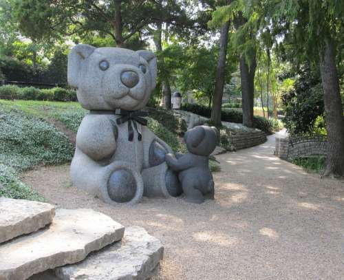 Teddy Bears Sculptures Park Stone Granite Toy
