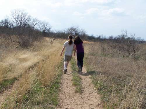 Teens Leaning Walking Outdoors Teenager Path