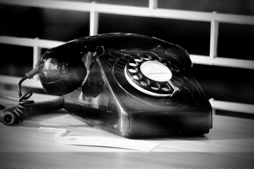 Telephone Phone Call Old Black White Number