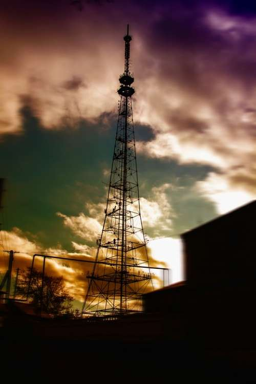 Television Tower Evening Clouds