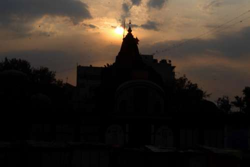 Temple Evening Clouds Indian Temple