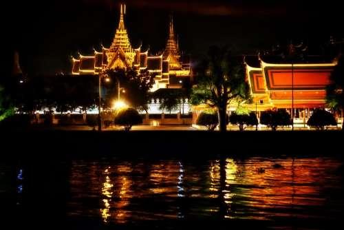 Temple Thailand Bangkok Illuminated Night Asia