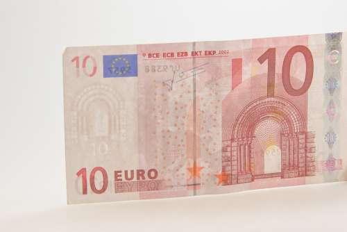 Ten Euro Bill Dollar Bill Currency 10 Europe