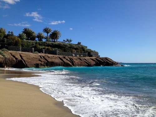 Tenerife Atlantic Sea Beach Blue Water Waves