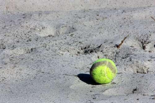 Tennis Ball Ball Sport Yellow Beach Sand