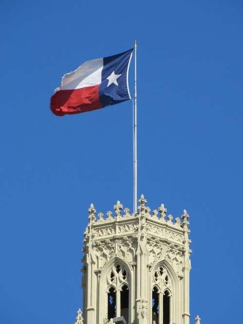 Texas State Flag Waving Emily Morgan Hotel