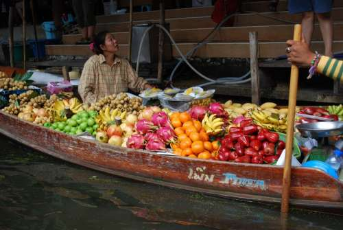 Thailand Fruit Channel Trade Boats