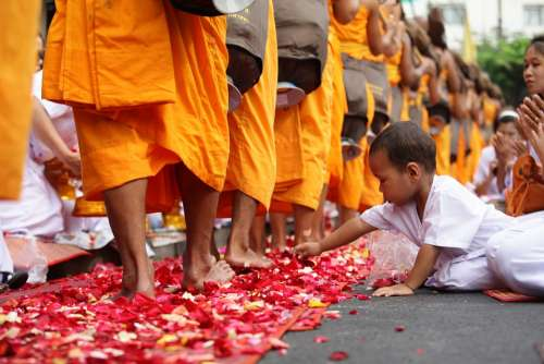 Thailand Child Buddhists Boy Monk Walk
