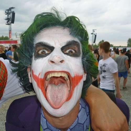 The Joker Man Dress Up Face Paint People Tongue