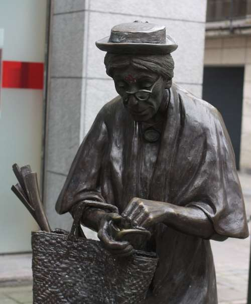 The Old Lady Sculpture Brussels An Elderly Woman