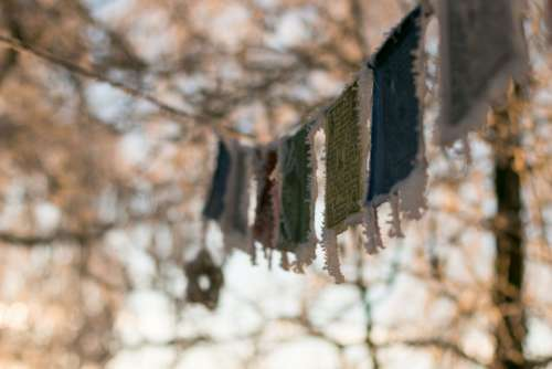 Tibetan Prayer Flags Winter Frozen Morning Sunrise