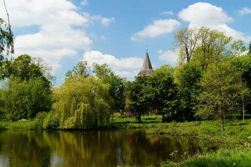 Timmel Lower Saxony Lake Bank Park Landscape Sky