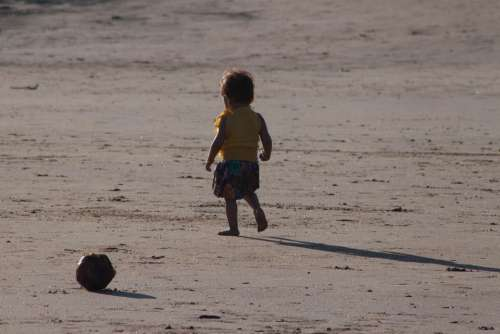 Toddler Child Walking Beach Sands Alone