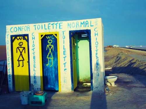Toilet Wc Loo Road Sky Blue Tunisia