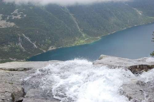 Top View Landscape Tatra Lake Water Waterfall