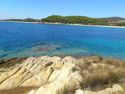 Toroni Bay Rock Water Ocean Halkidiki Greece