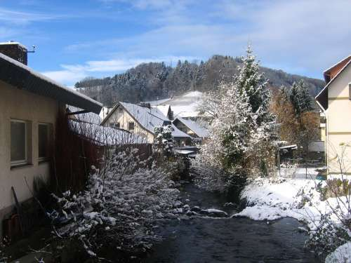 Torrent Bach Glottertal Winter Snow Cold Water