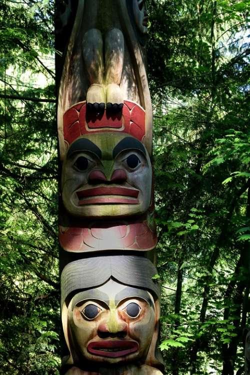 Totem Native Art Totem Pole Wooden Artwork Mystic