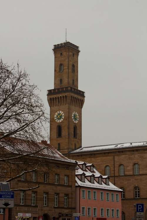 Tower Snow Winter Cold Town Hall Clock