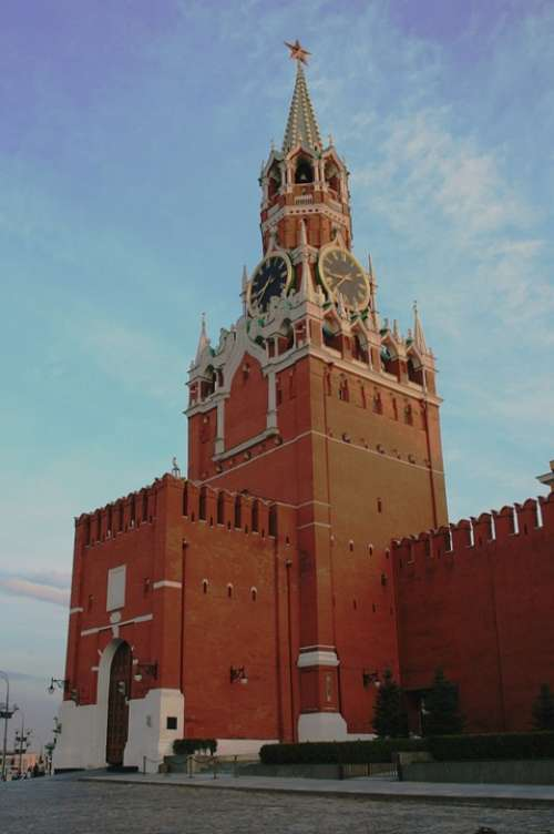 Tower Kremlin Wall Red Brick Tall Clock