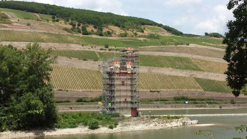Tower Rhine Landscape Sachsen Winegrowing Vineyard