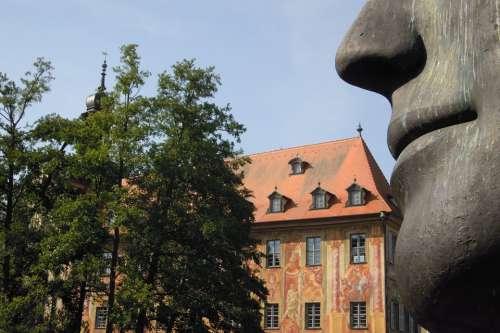 Town Hall Old Building Modern Art Bronze Sculpture