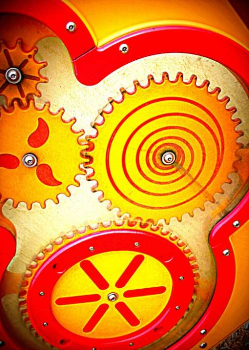 Toy Gears Red Yellow Plastic Playground