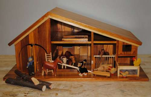 Toys Farmhouse Stall Wooden Animals Handicraft