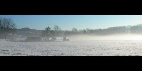 Tractor Tractors Landscape Nature Winter Fog Snow