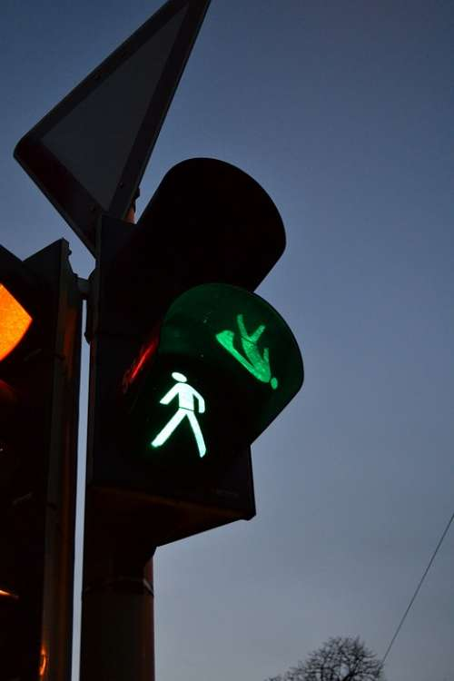 Traffic Lights Footbridge Red Green