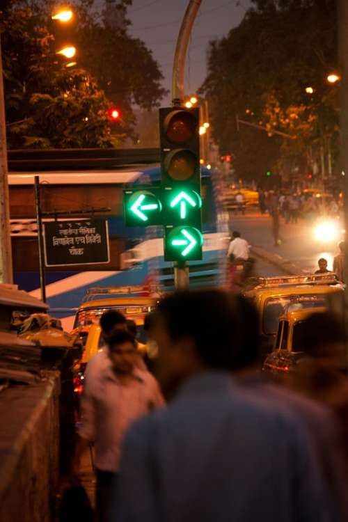 Traffic Lights Green Signal Walk India Crowded