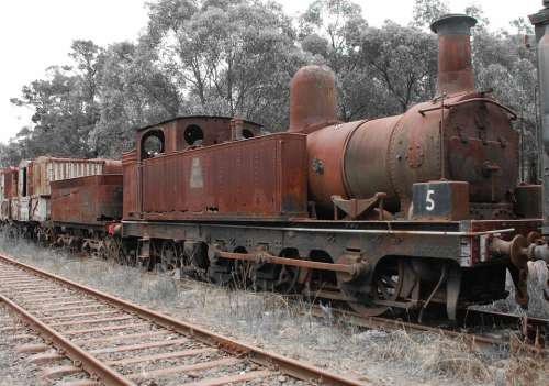 Train Steam Train Railway Rusty Old Vintage