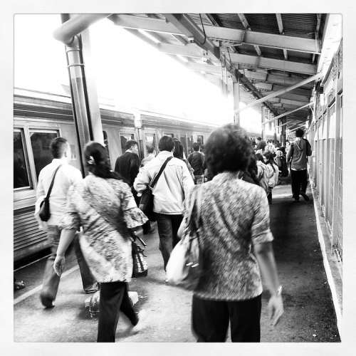 Train Station People Movement Grunge Vintage