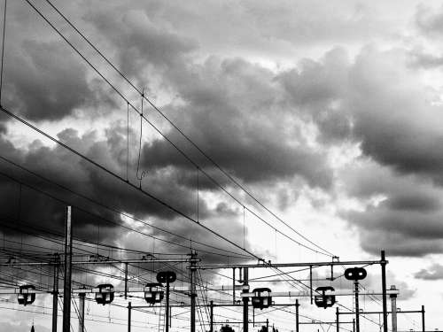 Train Wires Clouds Black And White Amsterdam
