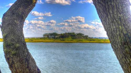 Trees Water River Island Clouds Blue Sky