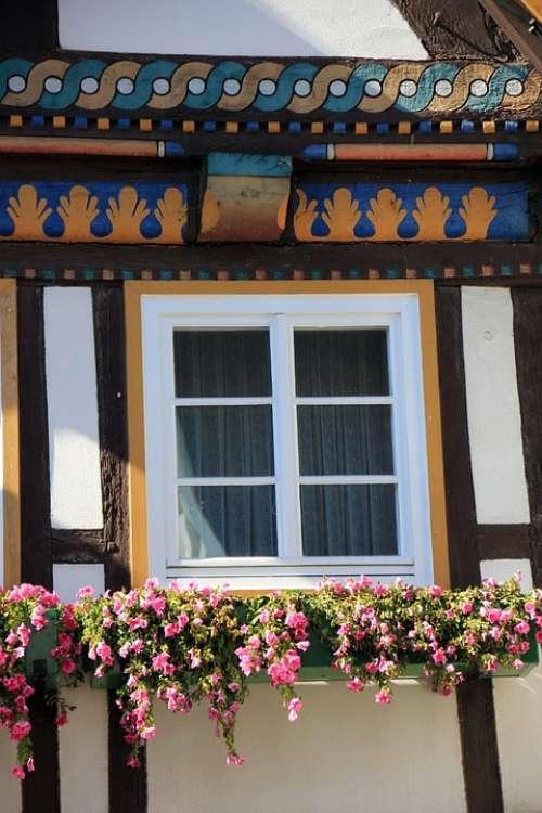 Truss Fachwerkhaus House Building Window Flowers
