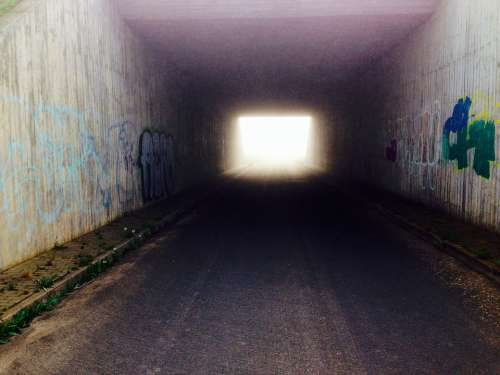 Tunnel Graffiti Light Road Grunge