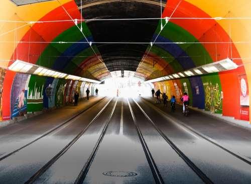 Tunnel Light Underpass Tram Rails