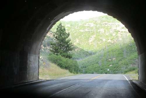 Tunnel Open Road Road Highway Open Asphalt